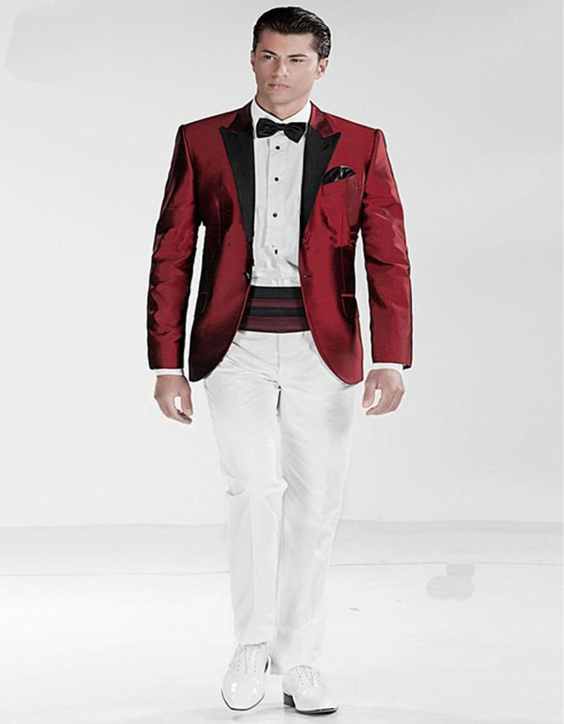 Aliexpress.com : Buy One Button Dark Red Jacket White Pant Groom ...
