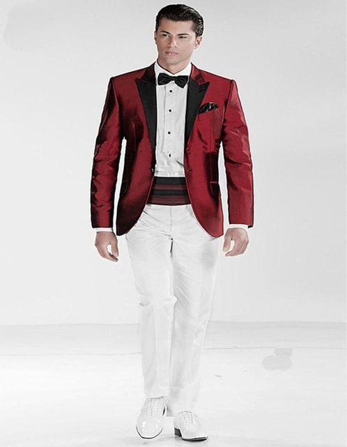 One Button Dark Red Jacket White Pant Groom Tuxedos Groomsmen Men\'s ...