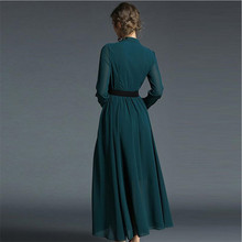 فستان شيفون أنيق باللون الجنزراي موديل الربيع بأكمام طويلة