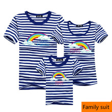 New Family Striped Summer Short-sleeve T-shirt Matching Family Clothing Outfits Mother Daughter Father Son baby clothes sailor