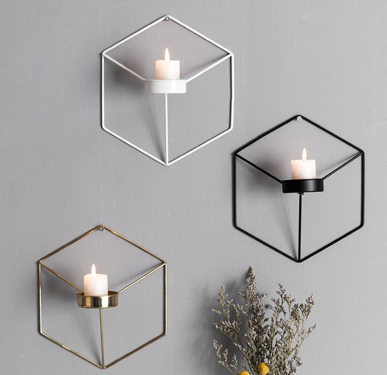 3D Geometric Tea Light Candle Holder Metal Candlestick Wall Mounted Decor wer