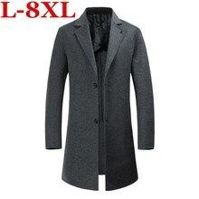 купить!  Большой размер 8XL 7XL Новые зимние шерстяные длинные роскошные мужские стройные повседневные толсты Л