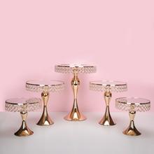 Новое поступление золотой кристалл торт стенд набор гальваника золото зеркало лицо Фондант Кекс сладкий стол моноблок украшения стола