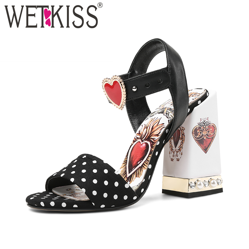 WETKISS Polka Dot High Heels Women Sandals Summer 2018 New Fashion Sandals Pearl Printing Shoes Open Toe Leather Footwear все цены