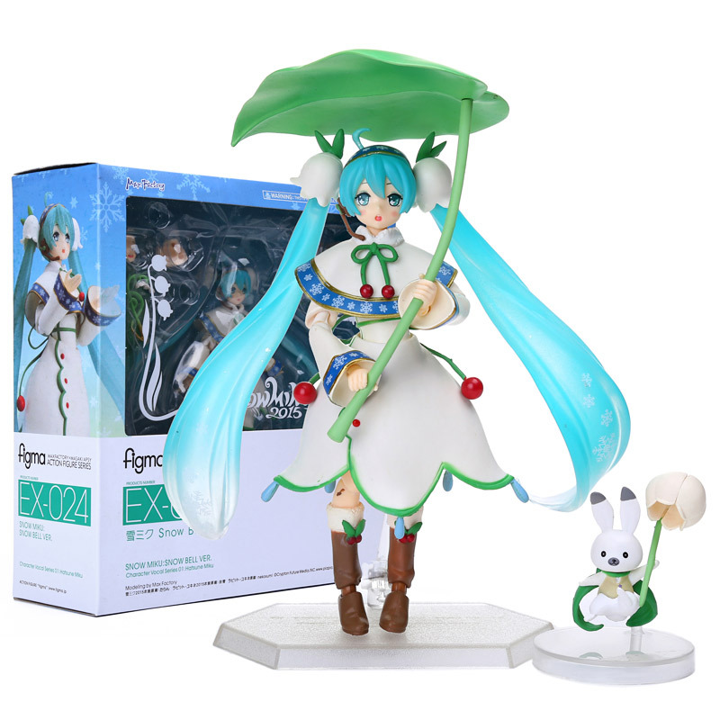 Figma Anime Hatsune Miku Figure 14cm Snow Miku Snow Bell Ver. PVC Action Figure Collection Model Toy Doll With Retail Box
