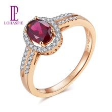 LP Engagement Diamond Ring Solid 9K 10K 14K 18K Rose Gold 1.85Ct Natural Gemstone Rhodolite Garnet Fine Jewelry for Gift  New