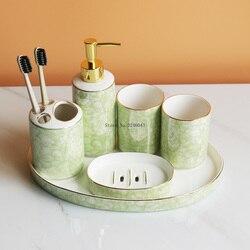 Stile europeo bagno set di sei marmo verde di ceramica di lavaggio kit bagno forniture set da sposa set regalo