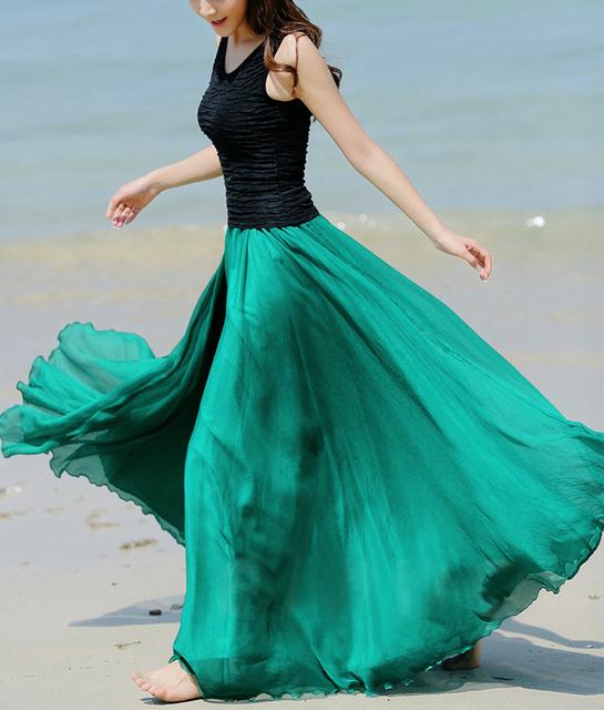 2015 verão mulheres deusa elegante gracioso bonito Saias Maxi saia de Chiffon Bohemian saia longa 8 cor Hot Sale 3040