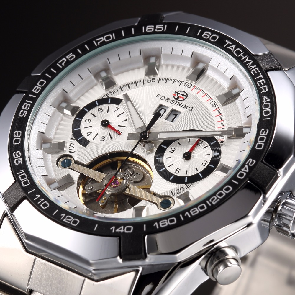 FORSINING Fashion Casual Men Clock Sport Style Stainless Steel Band White Dial Tourbillon Mechanical Watch цена и фото