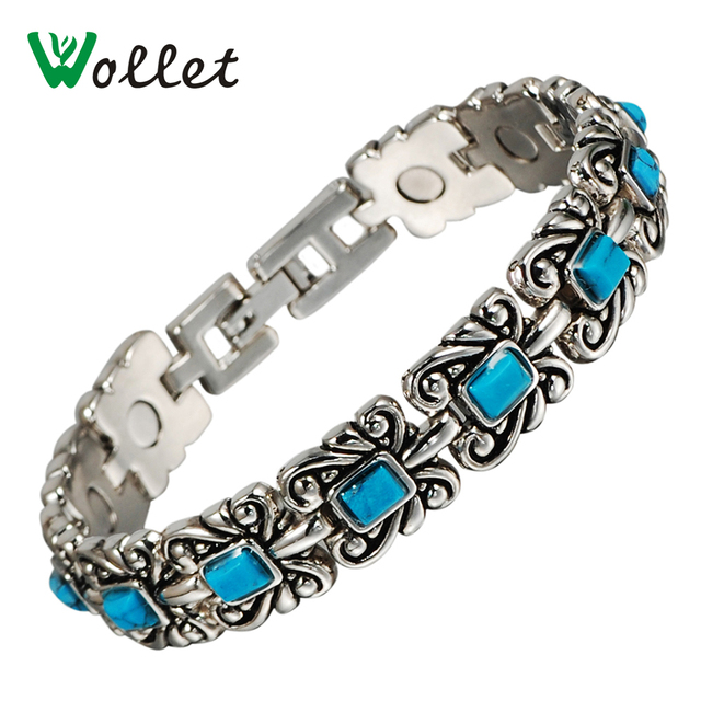 Wollet Jewelry Magnetic Bracelet For Women Las Vintage Silver Arthritis Pain Relief Bangle Magnets
