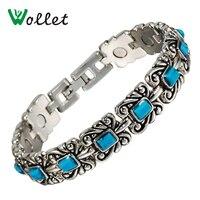 Inox Women 18 5 Cm Tibetan Silver Jewelry Bio Magnetic Bracelet Vintage Turquoise Bracelet For Women