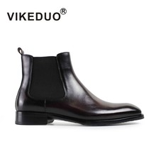 VIKEDUO Brand 2017 New Vintage Retro Shoes Handmade Mens Boots Fashion Luxury Boots 100% Genuine Leather For Party Wedding