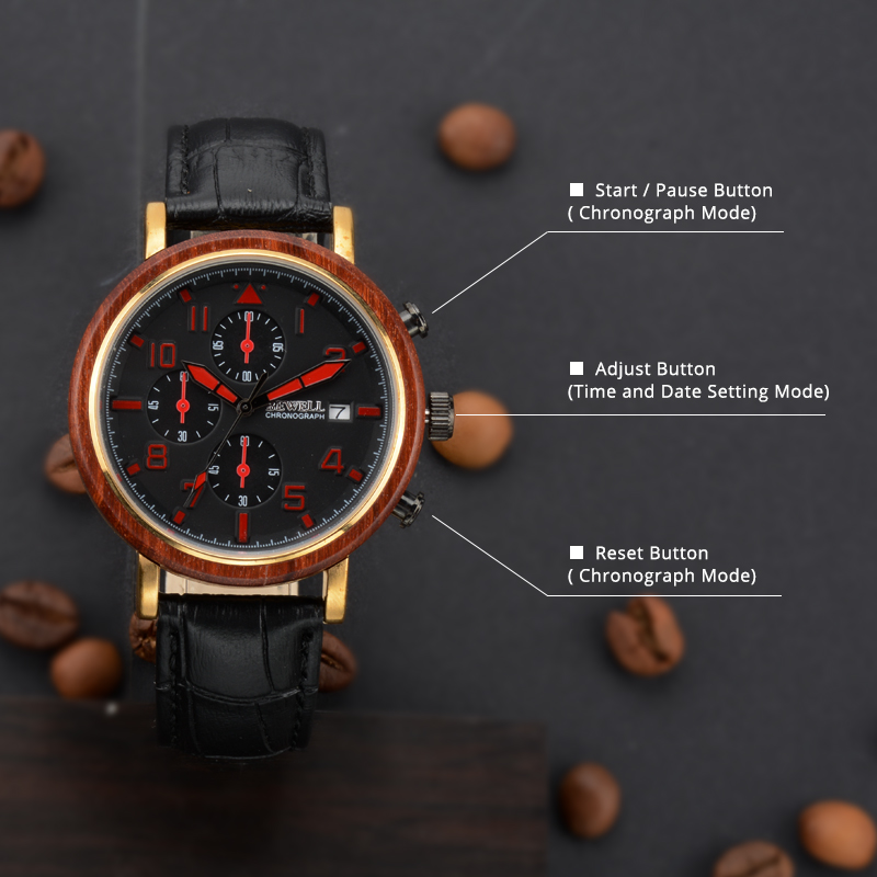 BEWELL New Waterproof Alloy Wood Men Watches With Luminous Hands And Stopwatch Top Luxury Brand Clock With Leather Band 1061A 4
