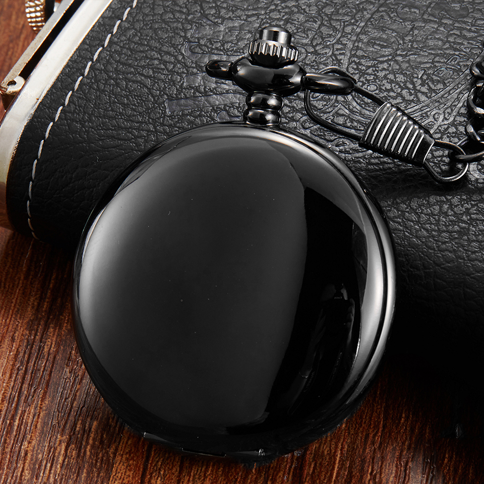 Classy Black Hand winding Mechanical Pocket Watch Fob Chain Men Watches Plain Flip Clock for Laser Engraved without Battery Gift