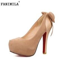 Большой размер 32-46 дамы высокий каблук насосы мода бантом обувь тонкие каблуках марка качество круглым носком аппликации каблуки обувь P23423