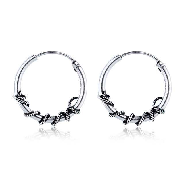 ce4ca11c7 Bohemian Gypsy Tribal Hoop Earring Handmade Bali Wrap Vintage Silver Color  Endless Small Circle Earrings For Women Jewelry