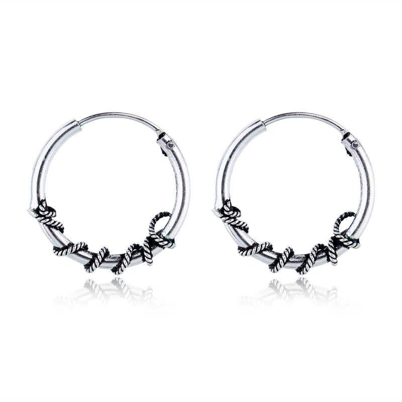 531d5e8c8 Bohemian Gypsy Tribal Hoop Earring Handmade Bali Wrap Vintage Silver Color  Endless Small Circle Earrings For
