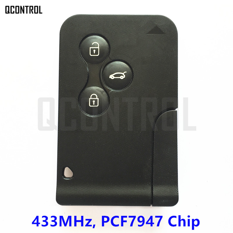 QCONTROL 3 Buttons Car Remote Smart Key Suit for Renault Megane Scenic 433Mhz with 7947 Chip