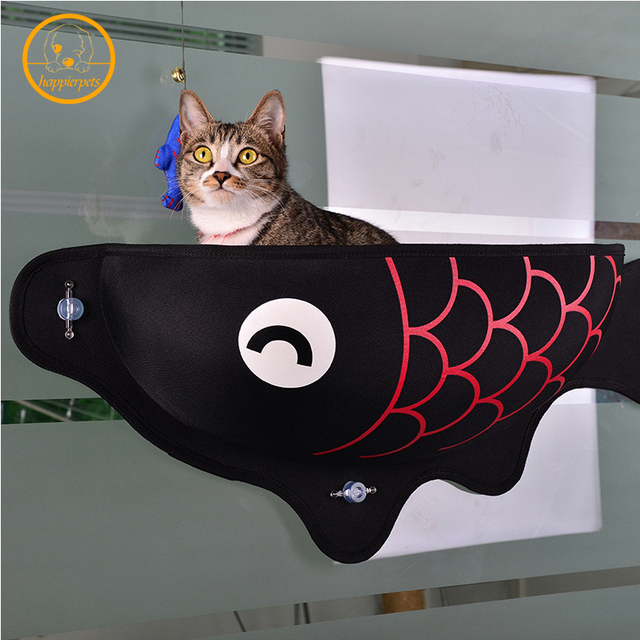 Pet Bed Adsorption Hanging Cat Nests Bed Fish-shaped Sucker Window Sill Wall Cat Bed Snack Bed Sunbathing Hammock For Cats MPC28