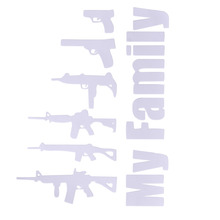 CITALL 1Pc White Creative Funny My Gun Family Sticker Decal Laptop Vehicle Car Truck Motorcycle Bumper Window Wall Accessories