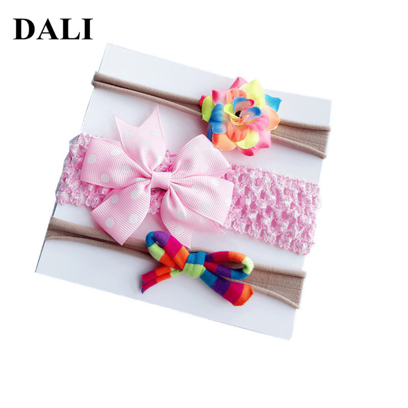 DALI Newest Baby Girl Headbands Mix Style Set Flower Bows Knot 3 kinds Hairband Hair Tie Nylon Elastic Hair Bands For Girls Sets