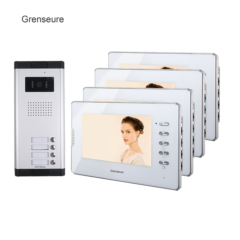 FREE SHIPPING New 7 Video Intercom Apartment Entry Door Phone System 4 Monitor 1 Doorbell Camera for 4 House In Stock Wholesale brand new wired 7 inch color video intercom door phone set system 2 monitor 1 waterproof outdoor camera in stock free shipping