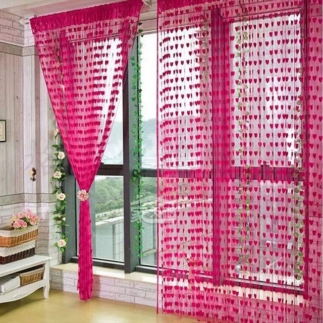 1Pcs 100*200cm Cute Heart Line Tassel String Door Curtain Window ...