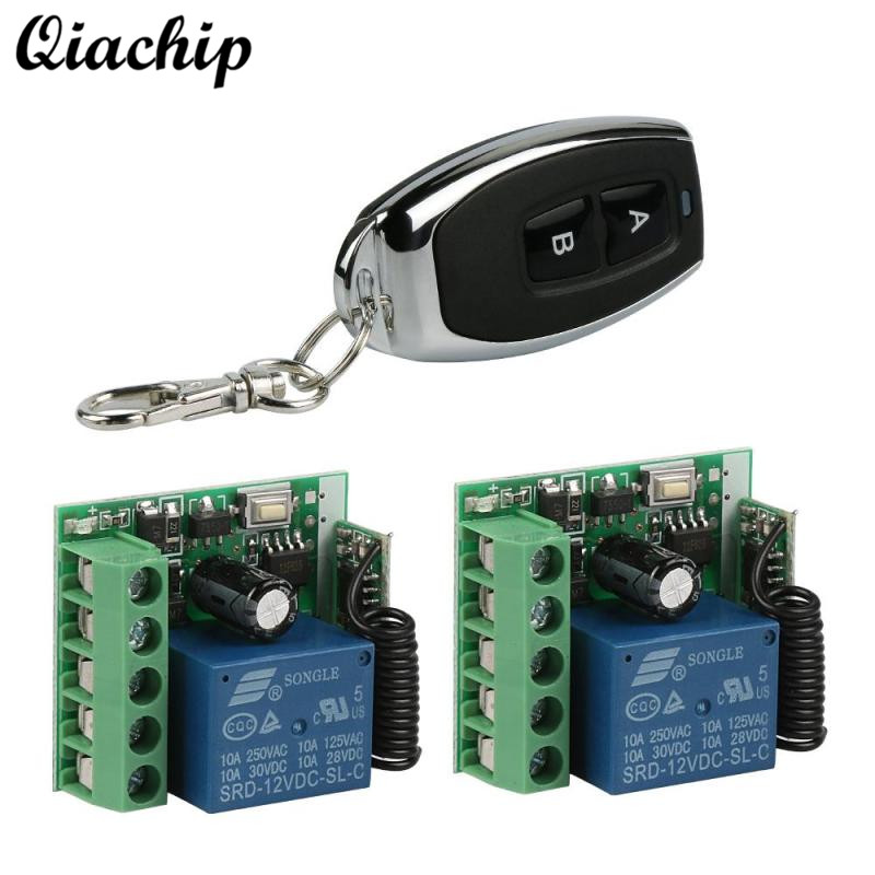 QIACHIP 433Mhz Wireless Remote Control Switch DC 12V 1CH RF Relay Receiver Module and RF 433 MHZ Transmitter Remote Controls Diy dc 12v 1ch 433 mhz universal wireless remote control switch rf relay receiver module and transmitter electronic lock control diy