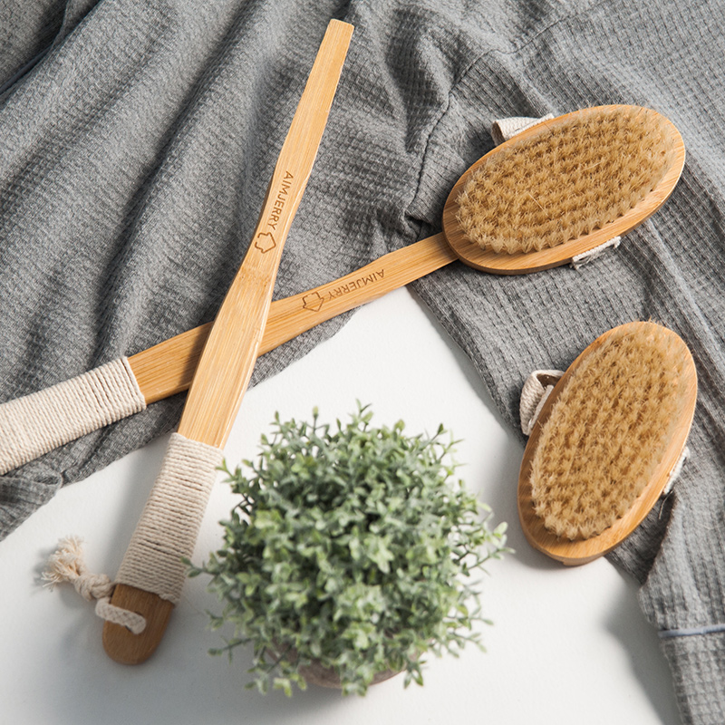 Aimjerry Bathroom Natural Bristle Cleaning Removable Long Handle Wooden Maasage Health Care Bath Body Brush for