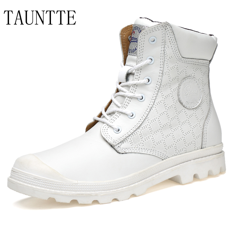 Tauntte Winter Plus Size Lovers Shoes Genuine Leather Men Ankle Boots Fashion Keep Warm Martin Boots With Fur