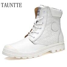 Tauntte зима плюс Размеры любителей Обувь Пояса из натуральной кожи мужские полусапоги модные Утепленная одежда ботинки Martin с Мех
