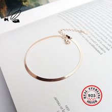 925 Sterling Silver Snake Chain Bracelets For Women Classic Minimalist Fine Jewelry Rose Gold Color Bracelet Woman