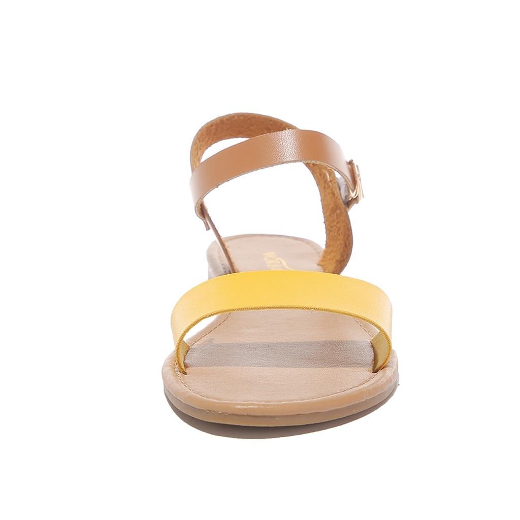 HTB15c4rQr2pK1RjSZFsq6yNlXXaS SAGACE Women's Sandals Solid Color PU Leather Sandals Women Fashion Style Flat Summer Women Shoes Women Shoes 2019 Sandals 41018