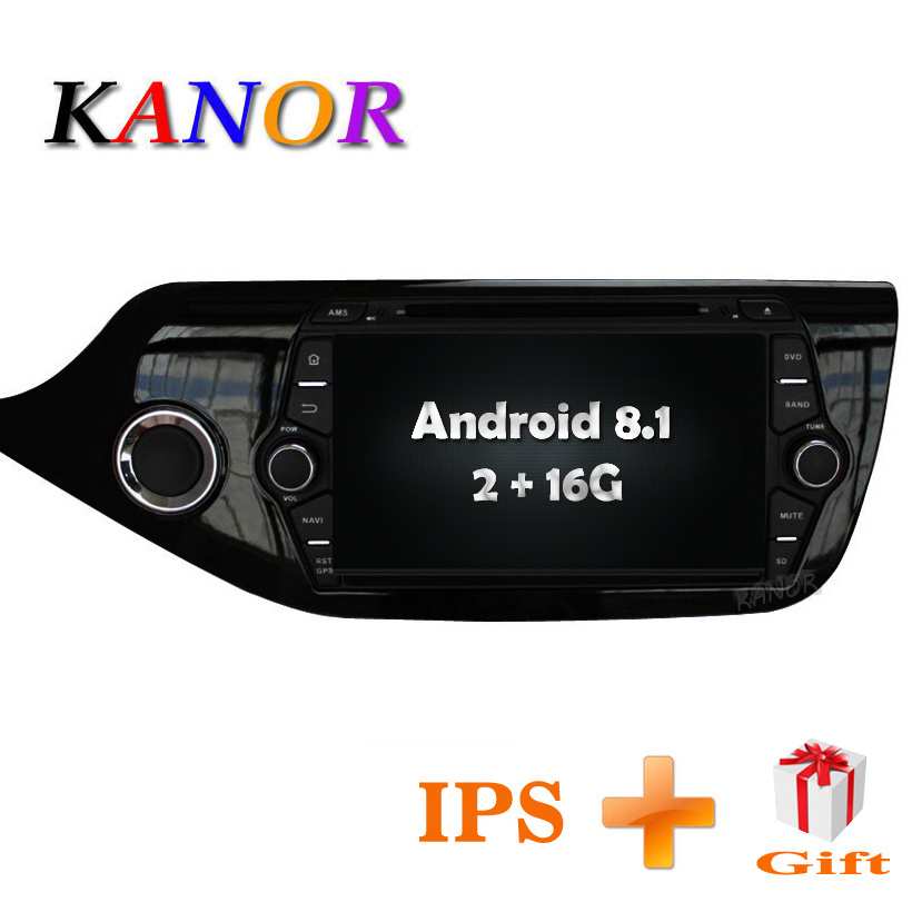 KANOR Android 8.1 1024*600 IPS 2din Car Radio DVD For KIA Ceed 2013 2014 2015 2016 Video Player Multimedia WIFI Audio SWC Map