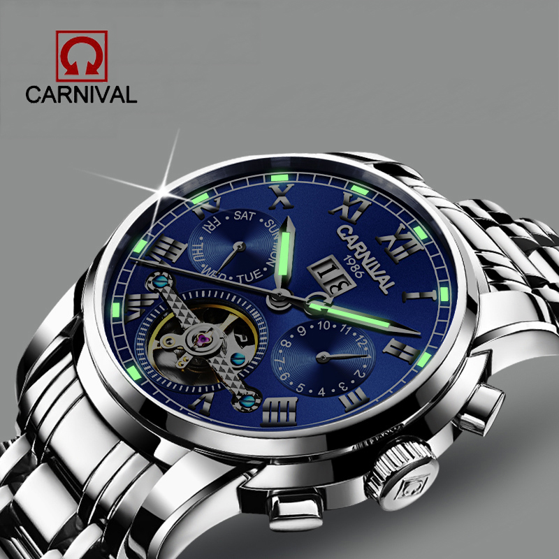 Relogio Masculino Carnival Men's Self-Wind Tourbillon Mechanical Watches Water Resistant Automatic Skeleton Watch Men Relojes