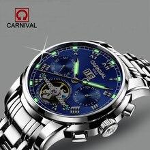 Relogio Masculino Carnival Men's Self-Wind Tourbillon Mechanical Watche