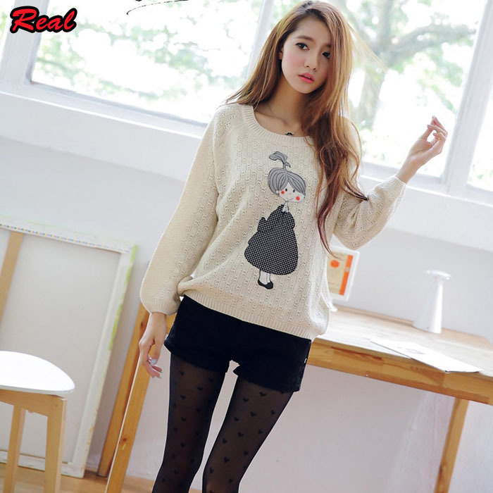 2015 New Fashion Women Cute Sweaters Female Knitted Pullover Girls ...