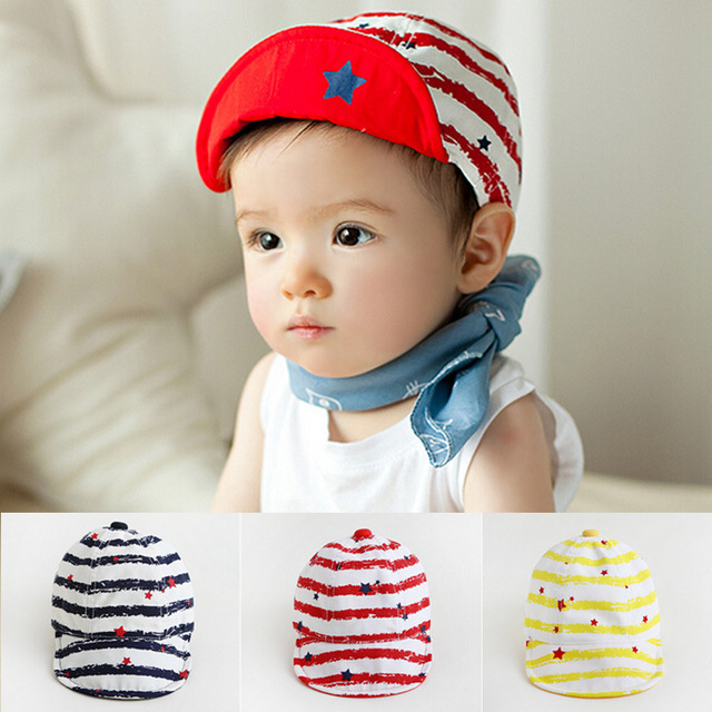 Cheap Sale Summer New Strip Stars Cotton Photography girls boys Infant  Newborn baby baseball hat caps 52f4f516a838
