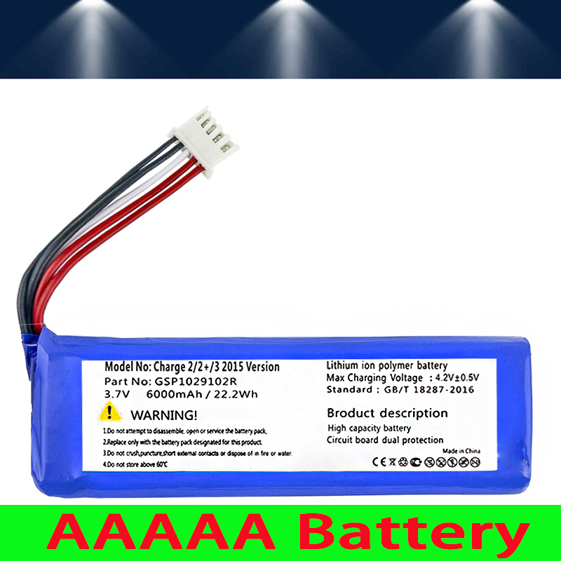 WONKEGONKE 6000mah GSP1029102R Battery For JBL Charge 2 Plus,Charge 2+,charge 3 2015 Version GSP1029102R P763098 Batteries