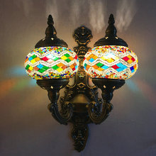 Artpad Mediterranean Style Decoration Stained Glass Double Lights LED Retro Vintage Turkish Mosaic Wall Lamps E12 For Hotel Home