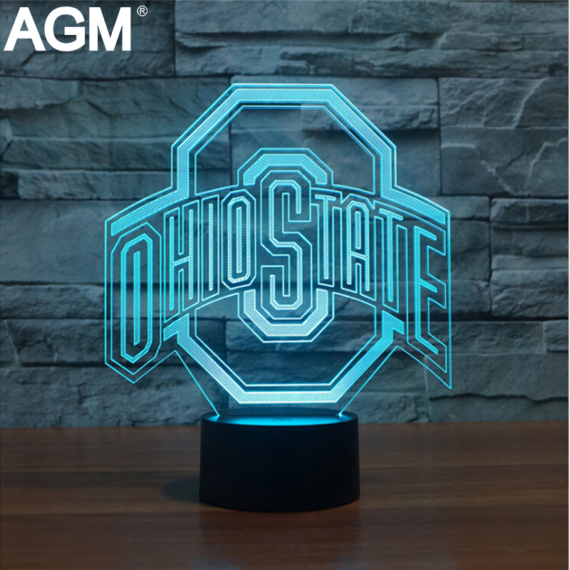 3D LED OHIO STATES Football Hat Shape USB Table lamp Touch 7 Colors  Changing Football Cap Desk Lamp For