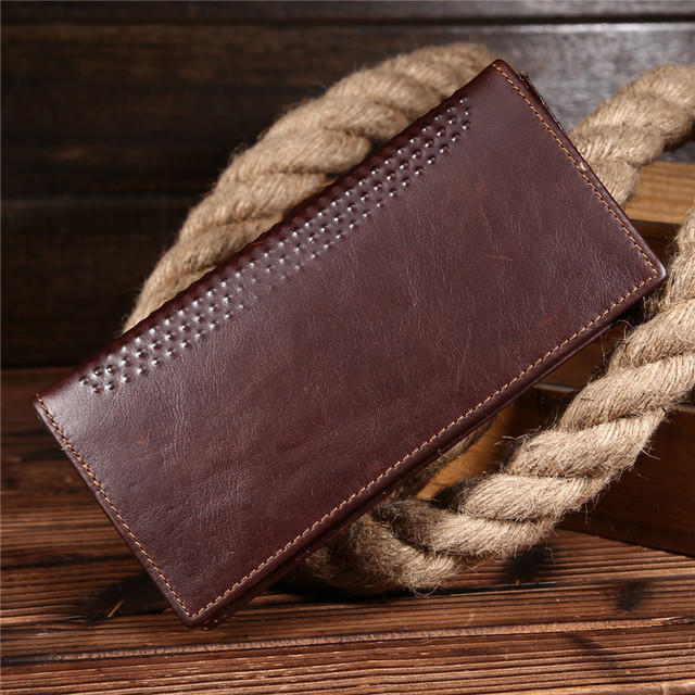 2016 New Fashion Genuine Crazy Horse Cowhide Leather Men Wallets Fashion Purse With Card Holder Vintage Long Wallet  Bag