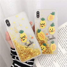 Summer Fresh Fruit Liquid Quicksand phone Case For iphone X Xs Xsmax Xr 6 6s 7 8Plus Luxury Yellow Pineapple Soft Phone