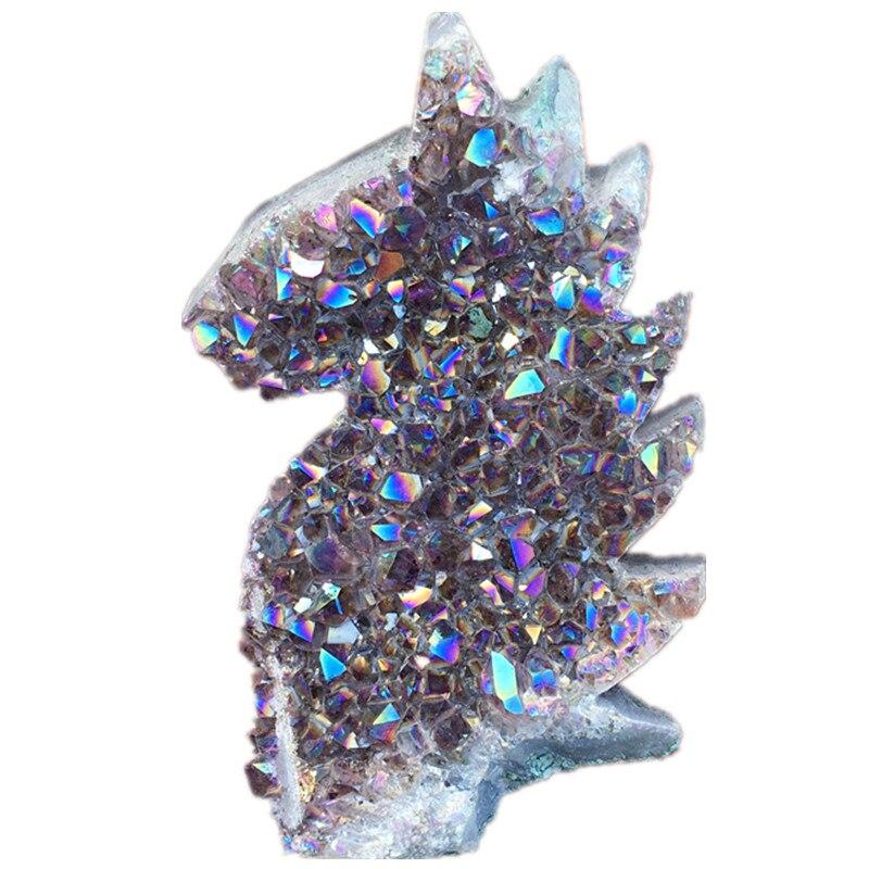 Violet clair aura Grappe de cristal de quartz Titane Bismuth Silicium Groupe Cheval Arc-En-Ciel de Guérison