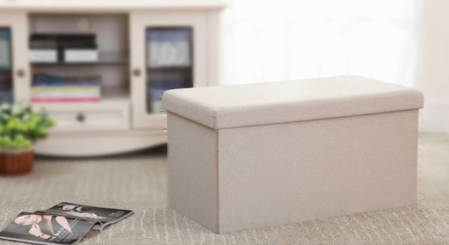 StorageManiac Folding Storage Bench With Detachable Division Plate Inside  Storage Ottoman For Storage And Seating In