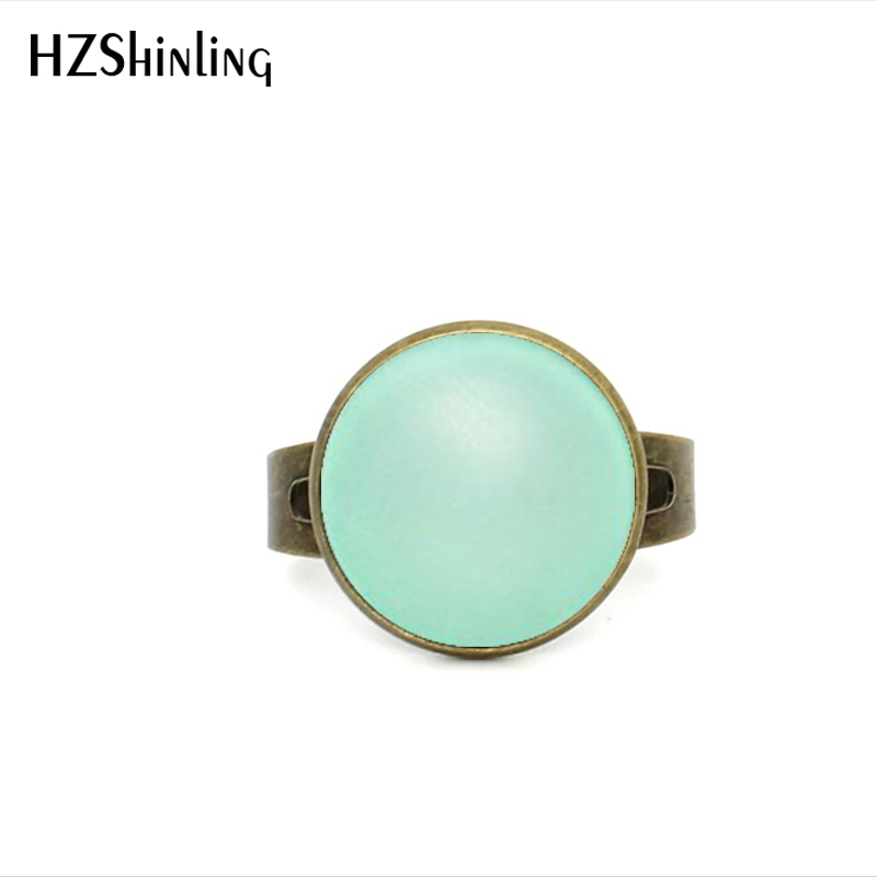 2017 New Style Mint Green Ring Antique Brass Glass Cabochon Adjustable Ring Rainbow Photo Jewelry For Women
