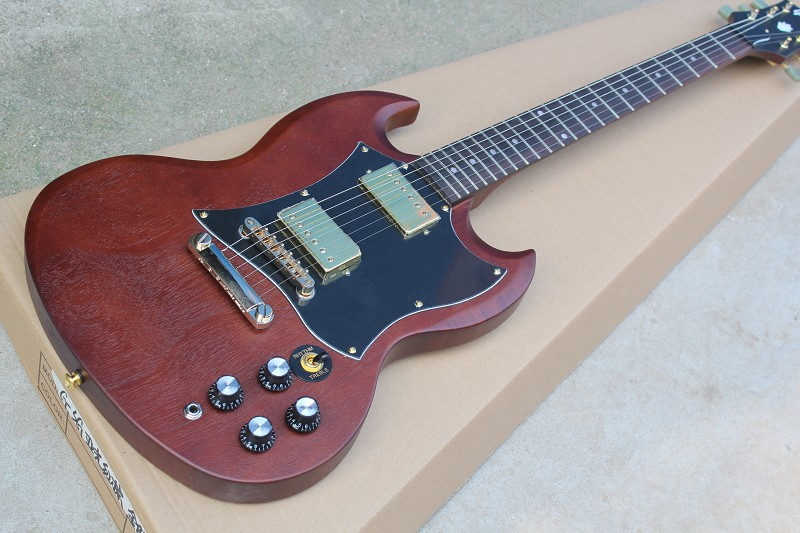 Free Shipping Factory custom shop New Top Quality  SG electric guitar with Dark Reddish Brown Matte electric guitarr  914 custom shop reddish brown matte satin finish 22 frets lp custom electric guitar 2014 new model china oem guitar lefty available