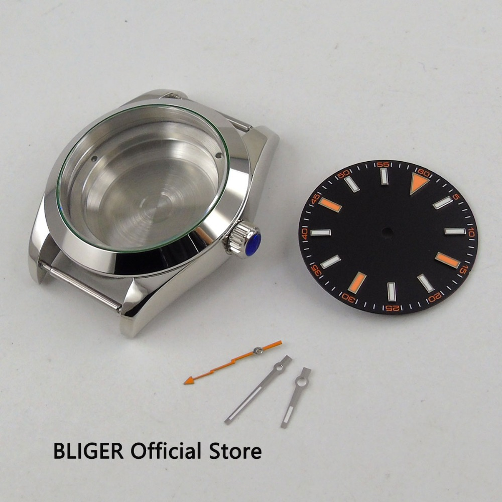 40MM Black Sterile Dial Luminous Marks Watch Dial+Hands+316L Stainless Steel Watch Case Fit DG2813 MIYOTA 8215 821A Movement40MM Black Sterile Dial Luminous Marks Watch Dial+Hands+316L Stainless Steel Watch Case Fit DG2813 MIYOTA 8215 821A Movement