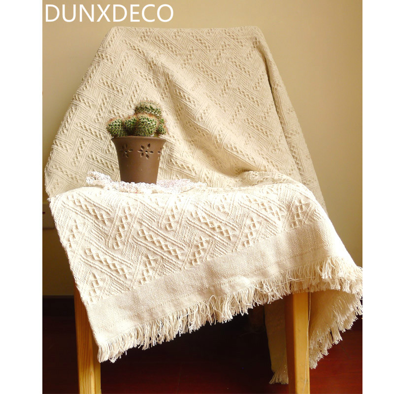 DUNXDECO Nordic Dreaming Country Style Vintage Beige Cotton Thread Blanket  Sofa Throw Aircondition Room Small Bedding