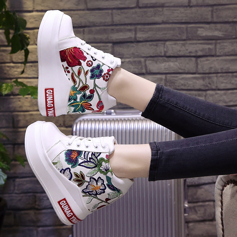 078d7df241 Aliexpress.com : Buy 2018 Summer Women High Platform Shoes Height  Increasing Ladies Sneakers Spring Trainers Pu Leather Shoes Breathable  Casual Shoes from ...
